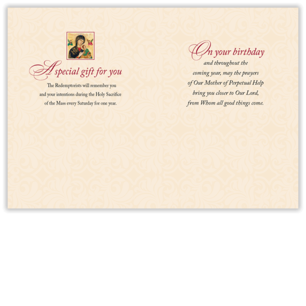 The interior of our birthday Mass card.